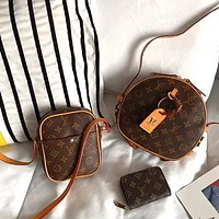 LV round cake bag mobile phone bag coin purse three-piece