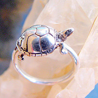 Adorable Silver Turtle Ring Sterling Silver, Nature Inspired,