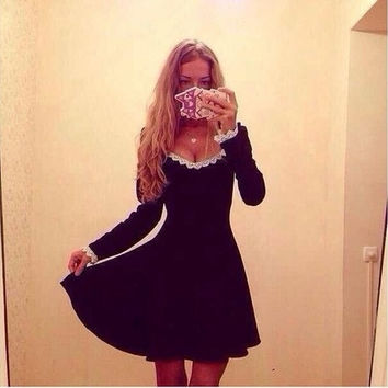New winter hot sexy big round neck long-sleeved lace dress = 1753498756