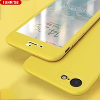 Funm'ob 360Degree Hard PC Protective Phone Case For iPhone 6 7 8 Plus X Glossy Front Back Cover Full Body Cases Protection Coque