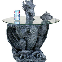 Dragon Head Centered on Dragon Statue Coffee Table