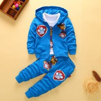 2018 tracksuit for boys hooded Boys Fashion Clothing Sets Autumn Winter 3 Piece Suit  Coat Clothes Baby CottonTracksuits