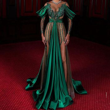 Luxury Long Evening Green Dresses Elegant Stain V-nack Tulle Illusion Prom Gowns Crystal Formal Party Dress