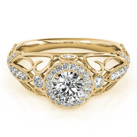 Engagement Ring -Halo Diamond Engagement Ring with Filigree in Yellow Gold-ES1757YG