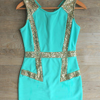 """""""Disco Nights"""" Sequin Party Dress in Mint"""