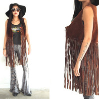 Vintage 60s FRINGE Long Chocolate Brown Suede Beaded Vest // Hippie Boho Gypsy // XS Extra Small / Small / Medium / Large