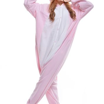 Newcosplay Adult Unisex Pig Onesuit Pajamas Costume (L, Pink pig)