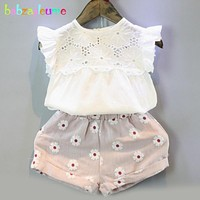 2016 Summer Brand Kids Clothes Sweet Children Clothing Set Hollow Design Vest+Shorts 2pcs Baby Girls Suits infant Outfit BC1432