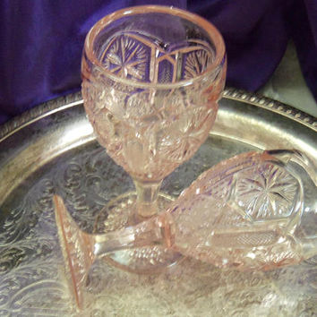 "Pink Imperial Glass Water Goblets, 1970 ""Turn O' Century"" Star and File Pattern, Reissued EAPG Pattern, Set of Two Unused Vintage"