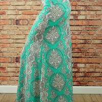 Mint Vintage Pattern Maxi Skirt
