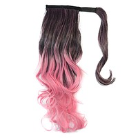 Colorful Gradient Ramp Mgic Tape Wig Horsetail     MST black to cherry pink