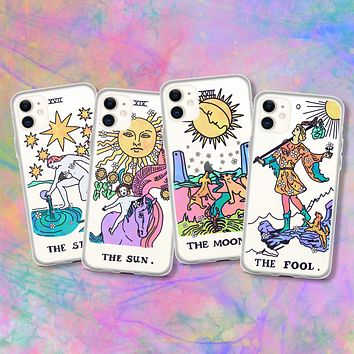 Psychedelic Aesthetic Tarot Card Clear Phone Case