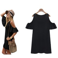 Women Butterfly Sleeve Cotton Cute Strap Off Shoulder Loose Vest Dress Knitting T-shirt Blouse (L, Black)