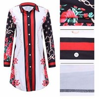 Too Bougie Floral Printed Striped Long Sleeve Tunic Casual Dress
