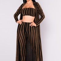 Gold Bricks Striped Set - Black/Gold