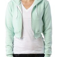 LE3NO PREMIUM Womens Fitted Cropped Fleece Zip Up Sweatshirt with Hoodie