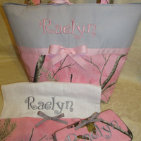 Custom Handmade Realtree pink grey camo camouflage diaper bag set with travel wipes and burp cloth, you choose name