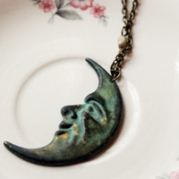man on the moon necklace // verdigris moon necklace // half moon necklace // space jewelry
