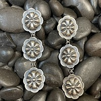Genuine Sterling Silver 3 Concho Earring