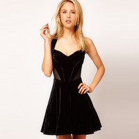 Black Halter Cutout Mesh Crossover Back Skater Dress