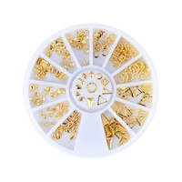NICOLE DIARY Rose Gold Rivet Nail Studs Oval Circle Square Triangle Hollow Frame Mixed DIY Metallic 3D...