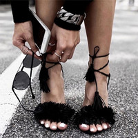 Suede Fringe Sandals High Heel Tassel Pumps