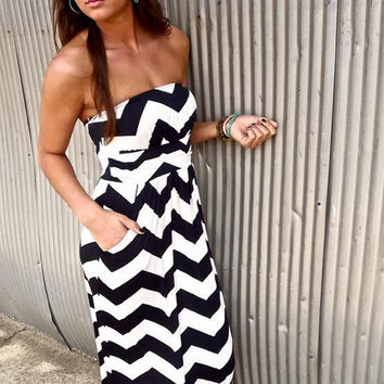 Chevron Maxi Dress - Black