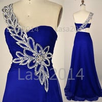 One Shoulder with Crystal Long Royal Blue Chiffon Prom Dresses, Royal Blue Evening Dresses, Formal Gown, Wedding Party Dresses