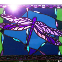 Stained Glass Dragonfly Window Panel Purple Blue Green Free Shipping