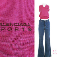 "Vintage Balenciaga Pink Sweater Vest Top Golf Sport 1980's Vintage Clothing Made in Japan Women's Size Small 36""Bust / Soft Acrylic Knit 90s"