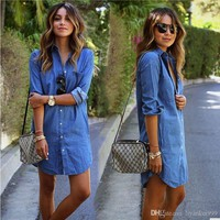 Autumn New Fashion Women Denim Dress Casual Loose Long Sleeved T Shirt Dresses Plus Size Womens Clothing S- 2XL