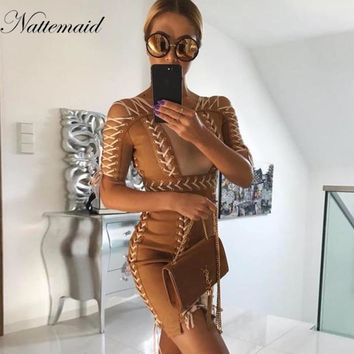 Women sexy Lace up suede Dress women Hollow Out Bodycon bandage Party Dresses