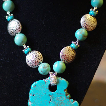 Turquoise Statement Necklace ~  One of a Kind ~  Pendant Necklace ~ Howlite ~ Turquoise Stone ~ Made in Canada ~ Anniversary Gift ~