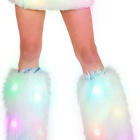 White Light Up Fluffies   Leg Warmers from RaveReady
