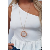It Came Full Circle Necklace: Pink/Gold