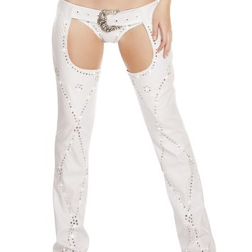 White 1PC Rhinestone Studded Chaps with Stoned Belt Buckle