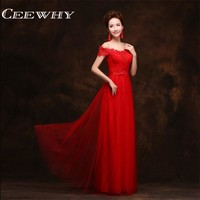 CEEWHY Chinese Style Vintage Tulle V Neck Embroidery Wedding Party Dress 2017 Formal Gowns Long Red  Bridesmaid Dresses Plus