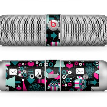 The Pink & Teal Owl Collaged Vector Shapes Skin for the Beats by Dre Pill Bluetooth Speaker