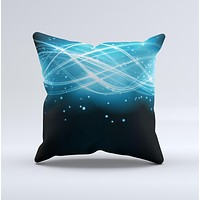 Abstract Glowing Blue Swirls Ink-Fuzed Decorative Throw Pillow
