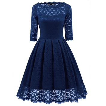 Overall Lace Pleated Skater Dress