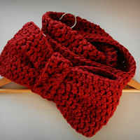 Chunky Crochet Red Infinity bow scarf, Eternity Scarf, Cowl wrap, Bow Tie Scarf, Neckwarmer, Valentine Gift, Gift for wife Gift for Daughter