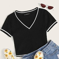 Contrast Striped Tape Rib-knit Crop Tee