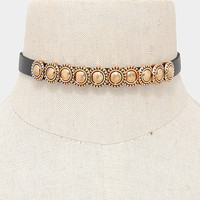 """13"""" faux leather choker collar necklace"""