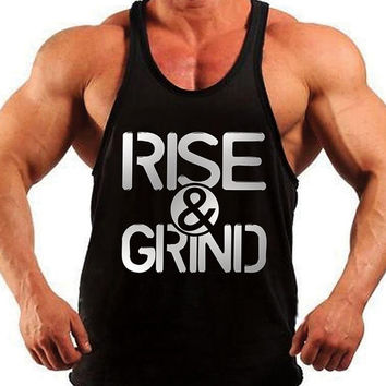 Rise & Grind, Bodybuilding Tank Top, Mens Workout Shirt, Racerback Singlet Y-Back, Muscle Tee, Mens Fitness Gym Tank, Fitness Apparel