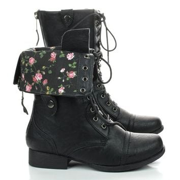 Jetta25R Women Black Military Lace Up Combat Boots w Fold Over Flower Print Design