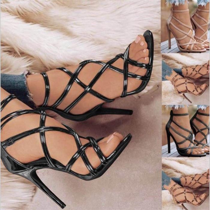 Image of New ladies sexy solid color strap high heels