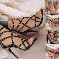 New ladies sexy solid color strap high heels