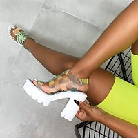Fashion sandals, personality, colorful, large size, one-word buckle, thick-soled women's sandals