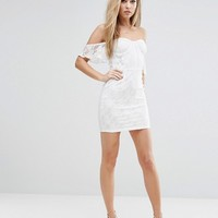 NaaNaa Off Shoulder Lace Bodycon Dress With Corset Detail at asos.com