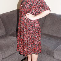 90s Red Floral Layered Dress XL